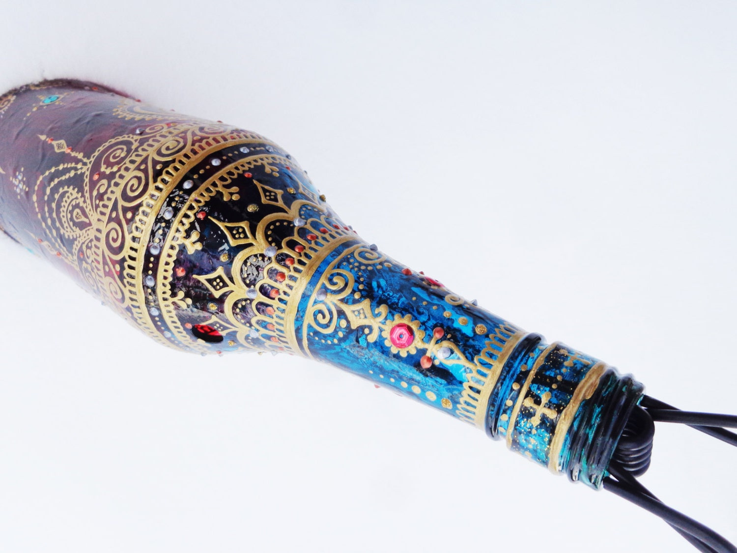 Mehndi Arm Glass : Glass bottle smoking pipe hand painted henna mehndi red