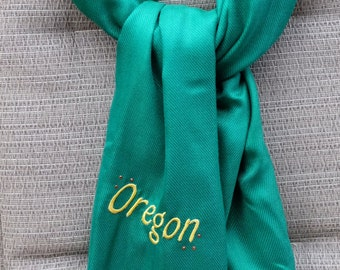 Scarf (Pashmina) - Green Embroidered with Oregon and adorned with Crystals