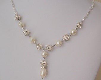 25% off - Wedding Necklace Pearl Rhinestone Bridal Necklace, Pearl Y Drop Necklace, Bridal Y Necklace-Ivory White Pearl-Pearl Bridal Jewelry