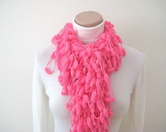 Neon Pink Curly Long Scarf, Neckwarmer, Cowl, Necktie... Cocoon, Mulberry, Pompom Pink Yarn - GIFT FOR HER - Ready for Shipping