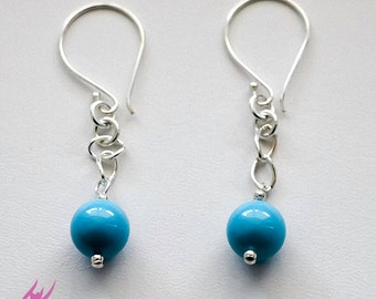 Turquoise Swarovski Crystal Pearls Earrings with Sterling Silver Chain, designbybehin, Bridal Beach Wedding Jewelry, Turquoise Jewelry