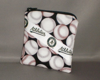 Coin Purse - Gift Card Holder - Card Case -Small Padded Zippered Pouch - Mini Wallet - Oakland A's - Baseball