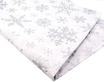 24 sheets of Christmas Tissue Paper - SHIMMER SiLVER SNOWFLAKES - 15 x 20 inch 100% recycled - Packaging and Gift Wrapping