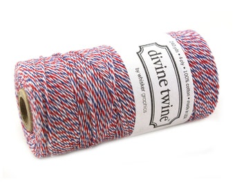 Bakers Twine 240 yard spool- PAR AVION Airmail Red, Blue & White Bakers Twine String for crafting, gift wrapping, packaging, invitations