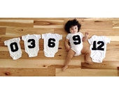 Monthly Onesie Photo Prop. Sporty First Year Baby Gift. Baby Onesie Jersey