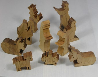 Holiday Nativity Scene - 10 Piece Wooden Nativity Set for Christmas Decor