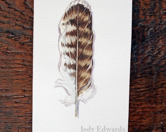 Hawk Feather Watercolor Painting