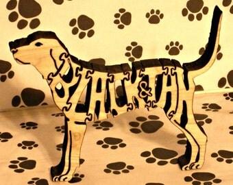 Black & Tan Coonhound Handmade Fretwork Wood Jigsaw Puzzle