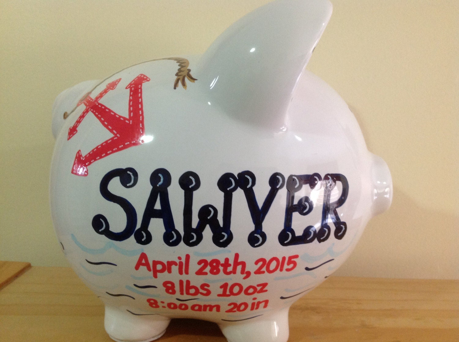 Personalized large piggy bank red navy blue nautical anchor - Nautical piggy bank ...