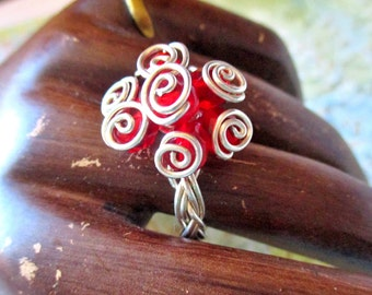 Wire Wrapped Beaded Ring, Sterling Silver Red Flower Beaded Ring, Braided Ring, Sterling Silver Rings, Handmade, Size 8, Unique, ON SALE!!!