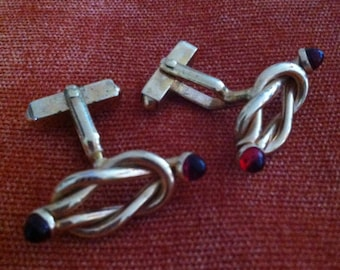 Gold Twisted Knot with Red Glass Cabochon Tips Vintage SWANK Cuff Links
