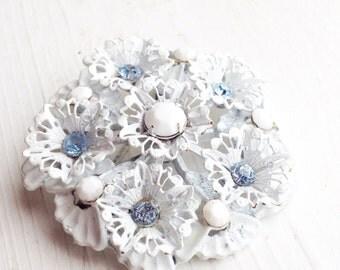 White Flower Vintage Brooch / Light Blue and Milk Glass White Rhinestones / Retro Winter Pin Snow Snowflake