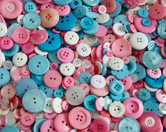 50 Buttons, Pink Blue White Button Mix, Perfect Baby Mix  assorted sizes -  Grab Bag - Crafting -  Jewelry -  Collect (1460)