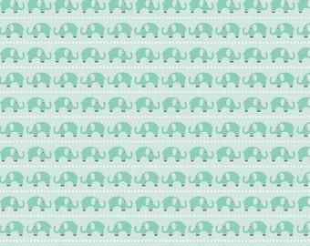 Boy Elephants in Aqua - 1 yard -  by Riley Blake Designs.