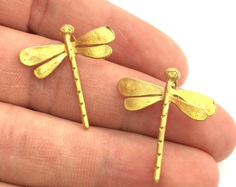 2 Raw Brass Dragonfly Charms 28x26 mm G3395