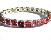 Red and Pink Square Swarovski Crystal Bracelet - Valentines Day - Handmade - Elegant - Slider Bead Jewelry - Gift Under 50, 100