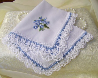 Bridal Handkerchief, Hanky, Hankie, Something Blue, Lace, Lacy, Hand Crochet, Embroidered, Personalized, Monogrammed, Floral, Ready to ship