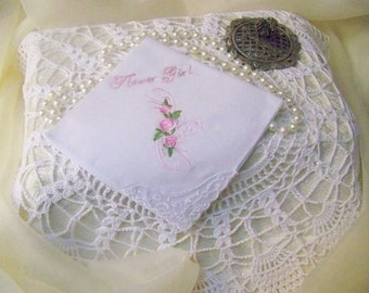 Girl's Handkerchief, Flower Girl, Bridal Party, Personalized, Embroidered, Floral, Lace Corner, Pink, Ready to ship, Bridal Party Gift