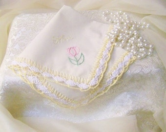 Mother of the Bride, Mother of the Groom, Crochet Handkerchief, Hanky, Hankie, Embroidered, Personalized, Pastel, Yellow, Ready to ship