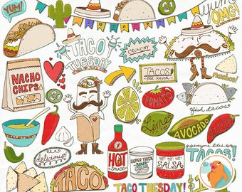 Taco Tuesday Clip Art, Cinco de mayo, Mexican Fiesta Menu, Food ClipArt, Instant Download Printable Digital Graphics, Hot Sauce
