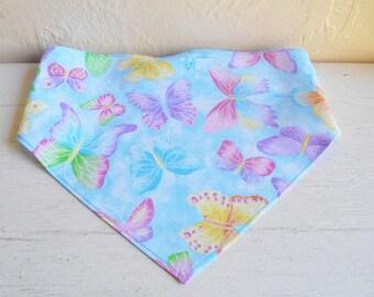 Glittering Butterflies On Blue Girls Head Scarf