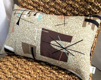 Tiki MCM Pillow Cover - Turquoise, Taupe, Dk. Choc., Metallic Gold - Vintage Barkcloth