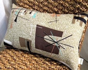 Tiki MCM Pillow Cover - Turquoise, Taupe, Dk. Choc., Metallic Gold - Vintage Barkcloth