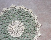 Country Chic Crochet Lace Doily, Cozy Home Decor, Frosty Green & Cream