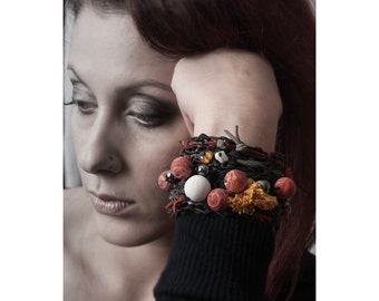 Black Leather Knitting Bracelet with Corals and Yellow Tassel