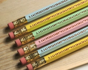 Perfect for Pi Day The Pi Pencil to 96 digits - 6 pack - Look Smarter for Pi Day