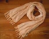 long cotton scarf, cream white, handmade crochet edging
