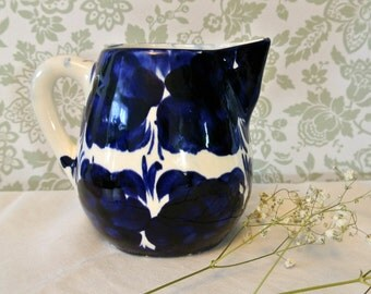 Quaint Cobalt Blue & White Ironstone Jug-Hand-Painted