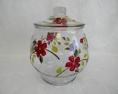 cookie jar, hand painted cookie jar, large painted jar, painted flowers, red