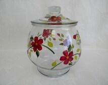 cookie jar, kitchen storage, large canister, large cookie jar, glass cookie jar, red flowers