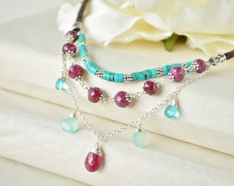 3-Strand Turquoise & Ruby Necklace