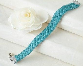 Turquoise Braided Deerskin Leather Cuff Bracelet - 5 Strand - Bohemian - Layering