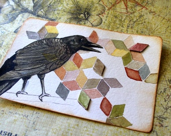 Original Watercolour Geometric Crow Painting - Fragmented