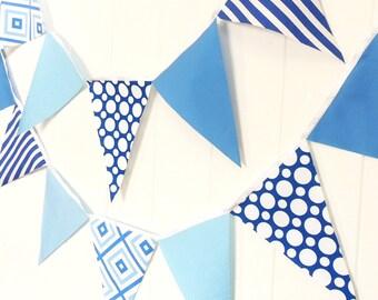 Shades of Blue Bunting, Banner, Fabric Pennant Flags, Light, Medium, Dark Blue, Polka Dot, Boy Baby Shower, Birthday Garland, Wedding Banner