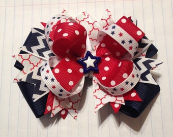 Fourth of July Red, White, and Blue Hair Bow