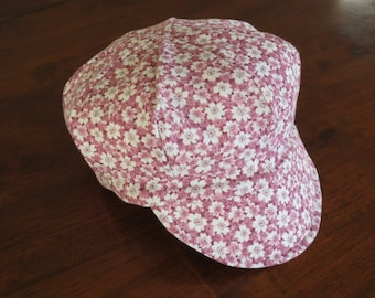 Baby Newsboy Cap Baby Newsboy Hat Pink Floral Baby Hat Baby Girl Hats Cotton Baby Hat