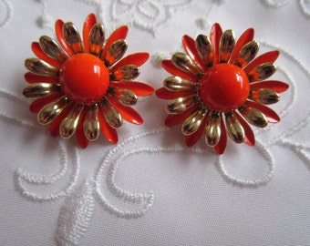 Vintage Gold Tone Orange and Gold Flowered Clip On Earrings