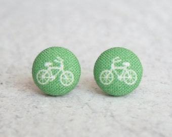 Green Bikes Fabric Button Earrings