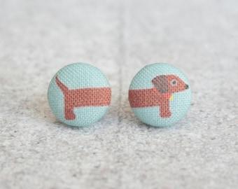 Long Dog Fabric Button Earrings