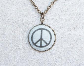 Peace Sign, Fabric Button Pendant Necklace