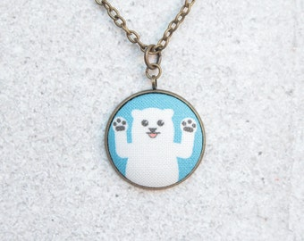 Polar Bear, Fabric Button Pendant Necklace