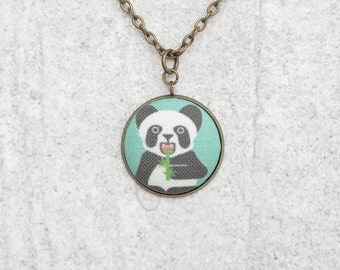 Eating Panda , Fabric Button Pendant Necklace