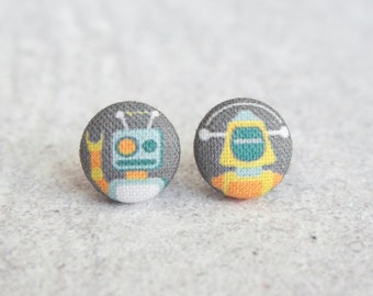 Robot Fabric Button Earrings