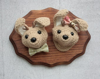 Faux Taxidermy Mr and Mrs Jackalope, Tan Bunnies on Stained Wood Plaque