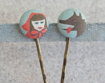 Little Red Riding Hood, Fabric Covered Button Bobby Pin Pair