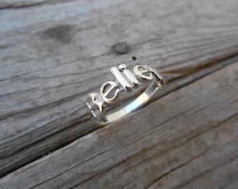 Believe ring handmade in sterling silver 925